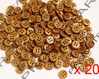 Set of 200 buttons 4 hole 11 mm coffee wood