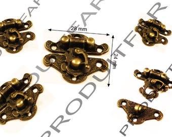 Set of 10 clasps latch lock box jewelry box casket 28 X 24 mm