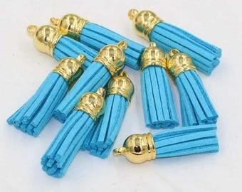 turquoise tassel suedine 38 mm gold