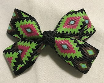 Green & pink tribal hair bow