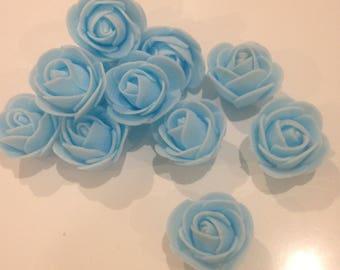 Lot 10 30mm blue flower