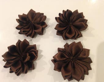 Set of 4 45 mm chocolate brown flowers