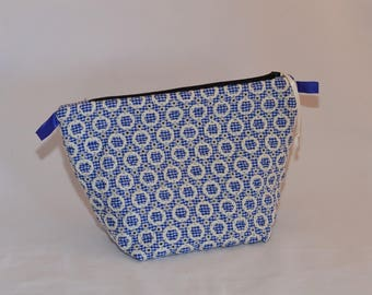 Gingham fabric storage pouch
