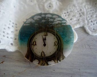 Cabochon round steampunk (wood support)