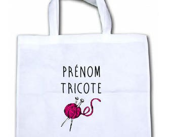 "PERSONALIZED tote bag in canvas INTISSEE ""knitting"""