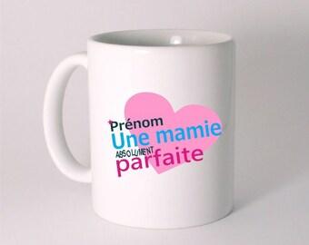 "Personalized ""a perfect Grandma"" ceramic MUG with his name"