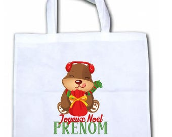 "PERSONALIZED tote bag/tote bag ""Little bear Christmas"""