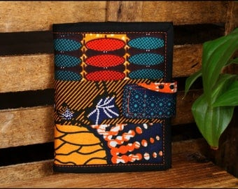 Wallet in wax and black cotton