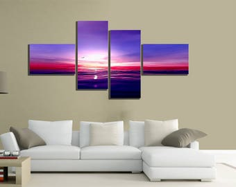 modern paintings canvas 200x100 4pcs sea purple sunset canvas