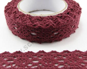 Fabric adhesive tape - Burgundy lace - 17mm x 2.5 m