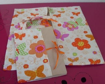 bag pie or cake and her Butterfly patterned notebook cover