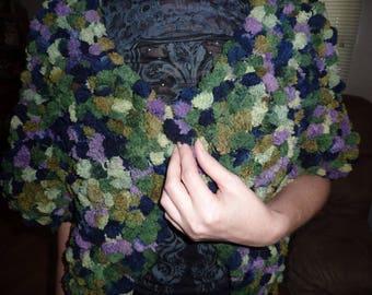 African Violet Pomppodoodle shawl