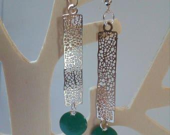 long earrings print silver