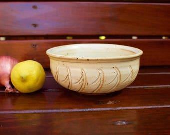 Rustic Elegant Ceramic Bowl with Waves
