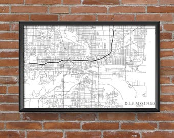 Des Moines, Iowa Map Art