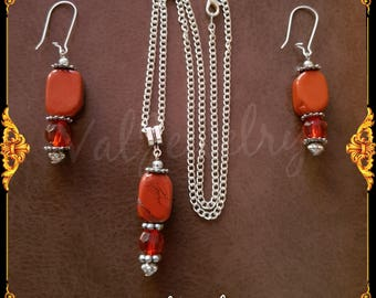 set red Jasper gemstone beads and faceted beads