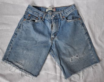 Levis Vintage High Waist Bermuda Cutoff Denim Shorts Waist 30""