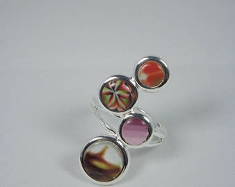 Ring 4 circles of polymer clay (fimo)