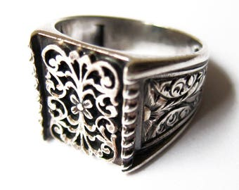 925 Solid sterling silver turkish men's artisan hand crafted ring