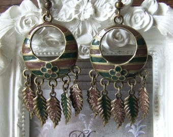 """Earrings """"Spirit of nature"""" spruce green and Brown enameled by me"""