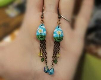 Earrings landscape country miniature Daisy