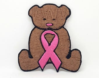 09# Teddy Bear & Breast Cancer awareness Pink Ribbon Embroidered Iron-on Patch
