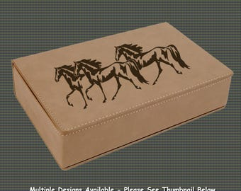 Leatherette Flask Gift Set - Horse Designs 3