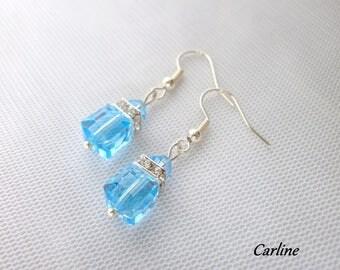 Earrings * Louisa * pearls Cubes Crystal rhinestone turquoise swarovski crystal