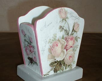 "PENCIL holder wooden ""love of roses"""