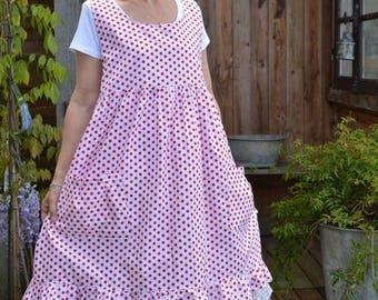 pretty Camellia pattern cotton apron