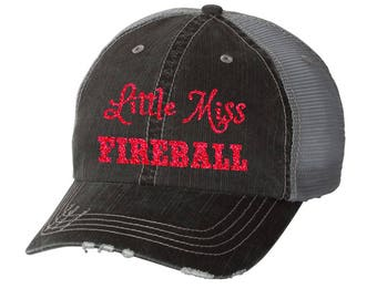 Little Miss Fireball Distressed Ladies Baseball Hat | Mesh | Trucker | Southern | South | Country | Festival | Concert