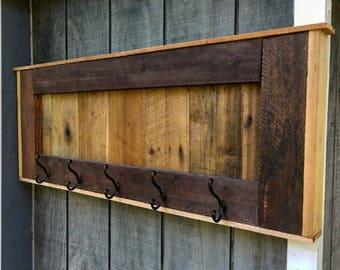 Reclaimed Rustic Wooden Hallway Coat Rack