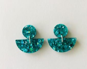 NEW NEW NEW!! Peacock Green Lux Glitter Fan Earrings