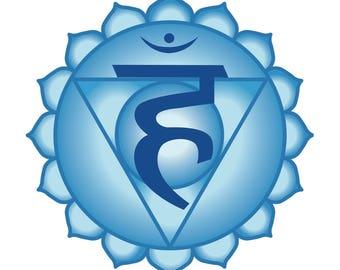 Vishudha or throat chakra symbol