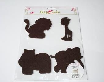 Felt animal Brown 9 cm stickers