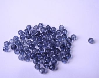 Blue 30 gr 8 mm gray glass beads