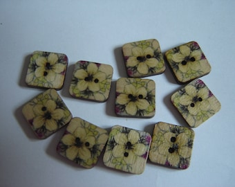 10 BUTTONS WOOD FLOWER SHAPED SQUARES / / 15 MM / / SET 14