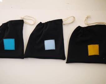 bag pouch heavy Jersey Navy, square of colors to identify each bag