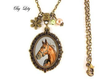 "Necklace ""Nature equestrian horse Portrait"" retro cabochon pendant!"