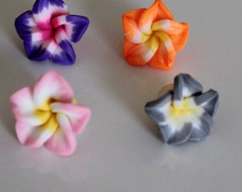 1 set of 4 flowers of Polynesia, 15 mm polymer ref No. 3