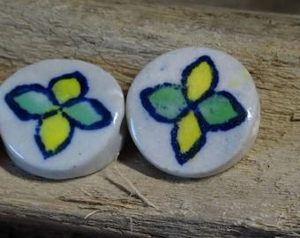 3 large ceramic artisan 19mm disc beads