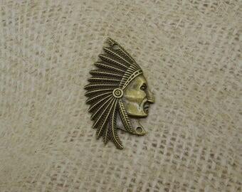 1 connector Indian head bronze Native American 50mm