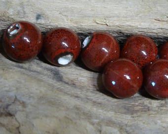 10 round ceramic beads handcrafted red dark 10mm