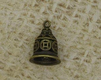 3 bells Tibetan charm bronze metal 15mm