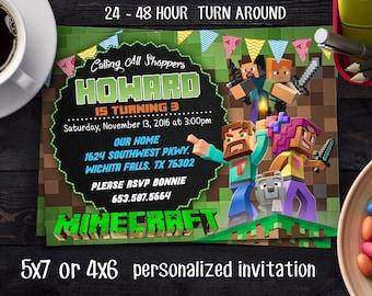 Mine Themed Invitation, Mine Craft Birthday, Minecraft Birthday Invitation, Minecraft Party, Minecraft Printable