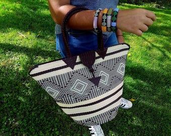 Tote bag braided Senegalese - Brown, white - SENSAC16