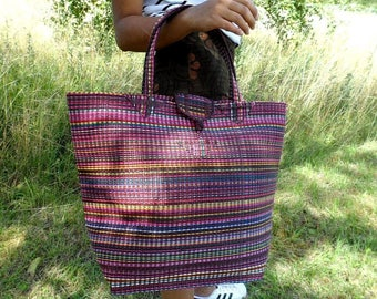 Large tote bag braided Senegalese - Brown, blue, pink - SENSAC04