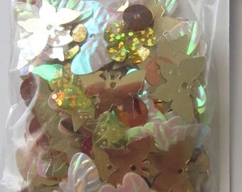 Bag of glitter, sequins, butterflies, flowers, stars, etc... Golden