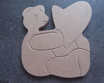 To decorate baby's room - a bear and a big heart wooden (Medium) - customize