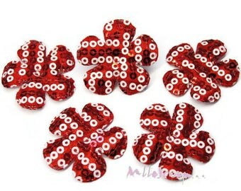 Red set of 5 flowers embellishment scrapbooking also sequins fabric